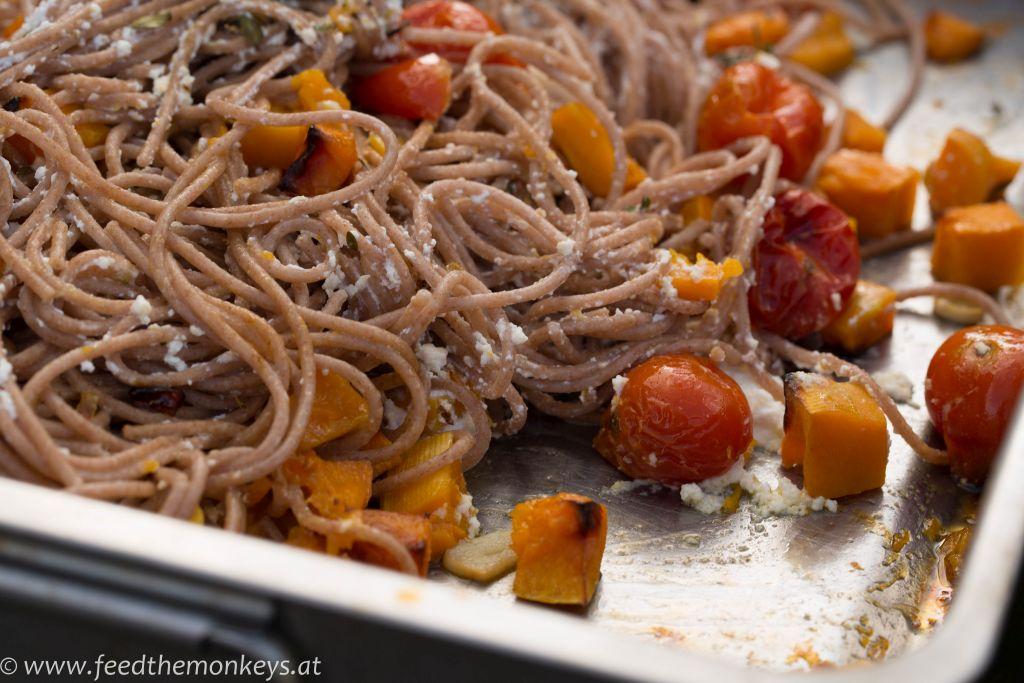 Dinkelspaghetti mit gebackenem Ricotta und Kürbis 2